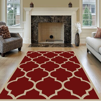 Kinner Moroccan Trellis Red Area Rug Rug Size: Rectangle 710 x 10
