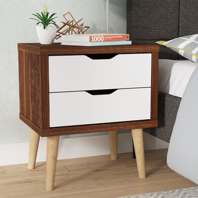 Waltrip Modern 2 Drawer Nightstand Color: Brown/White