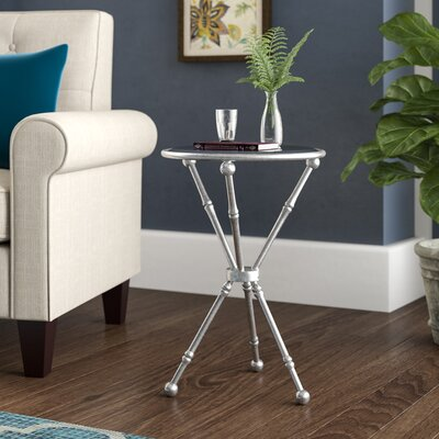 Schweizer Metal and Glass Mirrored Top End Table Color: Silver
