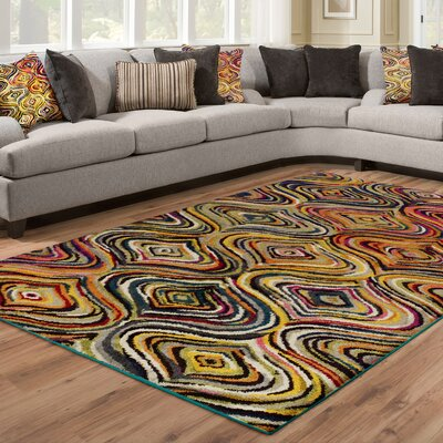 Yacoubou Yellow Area Rug Rug Size: Rectangle 5 x 8