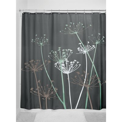 Thistle Shower Curtain Color: Gray/Mint