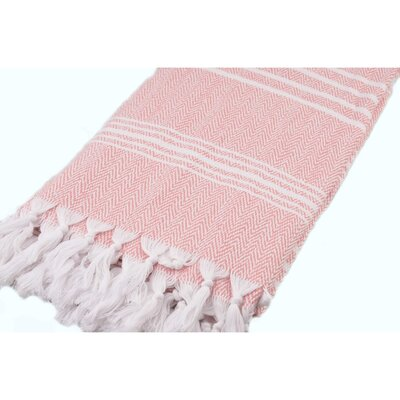 Wadlington Turkish Pestemal Bath Sheet Color: White/Pink