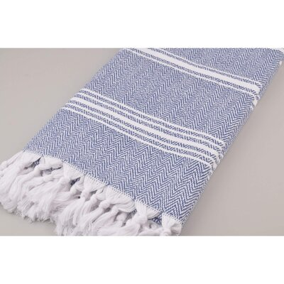 Wadlington Turkish Pestemal Bath Sheet Color: White/Blue
