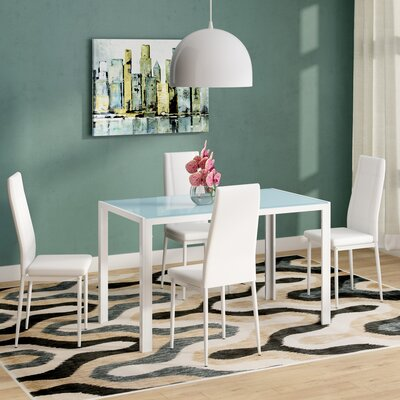 Dimattia 5 Piece Dining Set Color: White