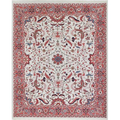 One-of-a-Kind Duena Indo Heriz Hand-Woven Wool Ivory Area Rug