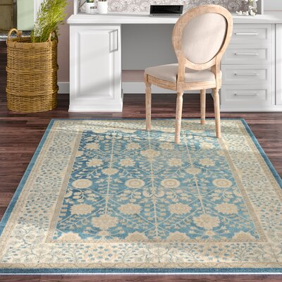 Kerensa�Light Blue Area Rug Rug Size: Square 5