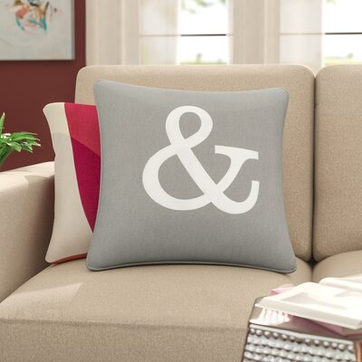Carnell Ampersand Cotton Throw Pillow Cover Color: Gray/ White