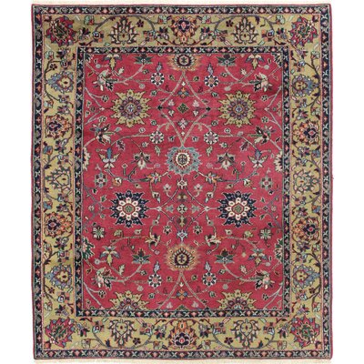 One-of-a-Kind Mellott Indo Sultan Hand-Woven Wool Burgundy Area Rug