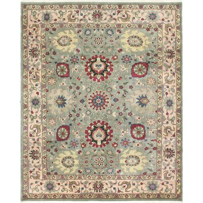 One-of-a-Kind Dumas Indo Agra Hand-Woven Wool Green Area Rug
