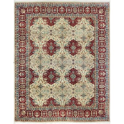 One-of-a-Kind Melson Indo Agra Hand-Woven Wool Ivory Area Rug