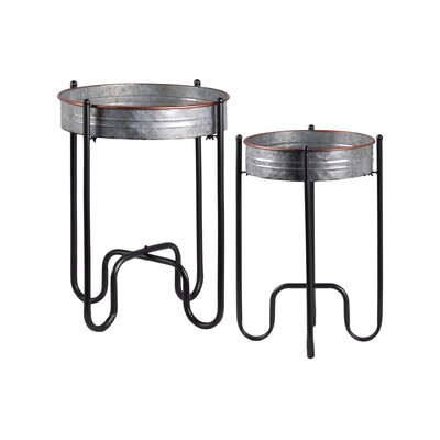 Mcdougle Metal Round Butler 2 Piece Tray Table