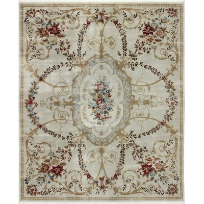 One-of-a-Kind Peabody Aubusson Hand-Woven Wool Beige Area Rug
