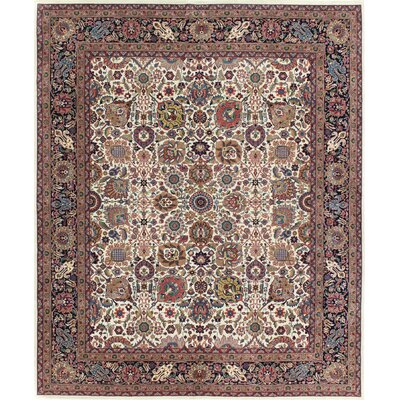 One-of-a-Kind Meltzer Indo Kashan Hand-Woven Wool Beige Area Rug