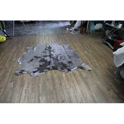 One-of-a-Kind Algarin Premium Hand-Woven Cowhide Glossy Gray Area Rug