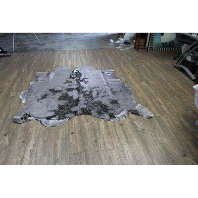 One-of-a-Kind Chagoya Hand-Woven Cowhide Glossy Gray Area Rug