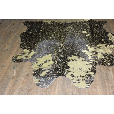 One-of-a-Kind Welton Hand-Woven Cowhide Black/Gold Area Rug