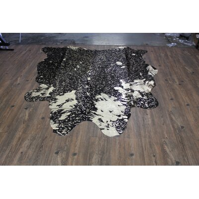 One-of-a-Kind Altieri Luxurious Glossy Hand-Woven Cowhide Metallic Gold Area Rug
