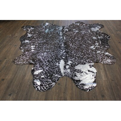 One-of-a-Kind Welton Real Hand-Woven Cowhide Black/Silver Area Rug