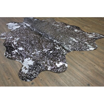 One-of-a-Kind Parikh Luxurious Hand-Woven Cowhide Silver/Black Area Rug