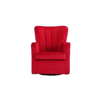 Lucki Modern Swivel Arm Chair Finish: Red