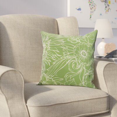 Derick Floral Print Throw Pillow Color: Green, Size: 20 x 20