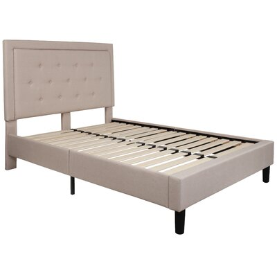 Porcaro Tufted Upholstered Platform Bed Color: Beige, Size: Full