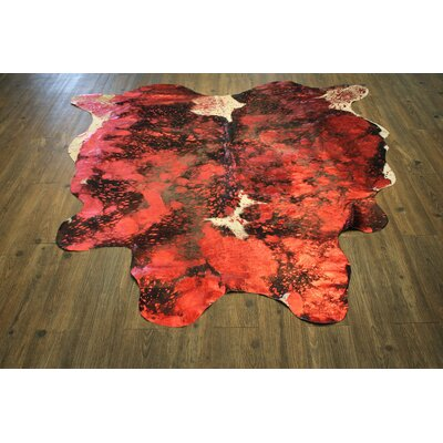 One-of-a-Kind Bohan Premium Hand-Woven Cowhide Bright Red Area Rug