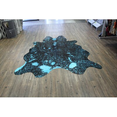 One-of-a-Kind Minton Hand-Woven Cowhide Vibrant Blue Area Rug