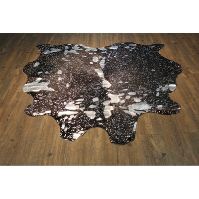 One-of-a-Kind Pariaman Luxurious Hand-Woven Cowhide Silver/Black Area Rug