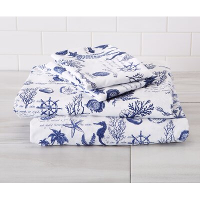 Arrigo Ultra-Soft Double-Brushed Coastal Printed Microfiber Sheet Set Size: Twin