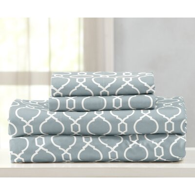Kinman Geometric Printed Double Brushed Microfiber Sheet Set Size: King, Color: Pearl Blue