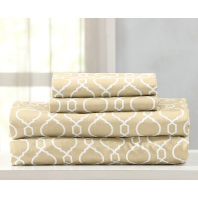 Kinman Geometric Printed Double Brushed Microfiber Sheet Set Size: King, Color: Cr�me Brulee