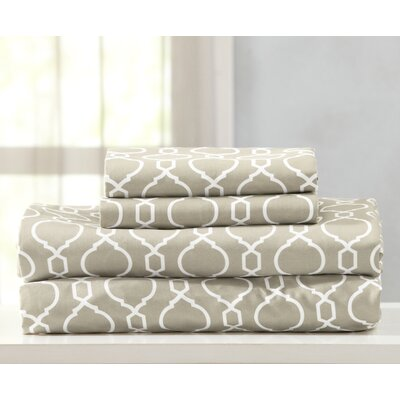 Kinman Geometric Printed Double Brushed Microfiber Sheet Set Size: King, Color: Taupe