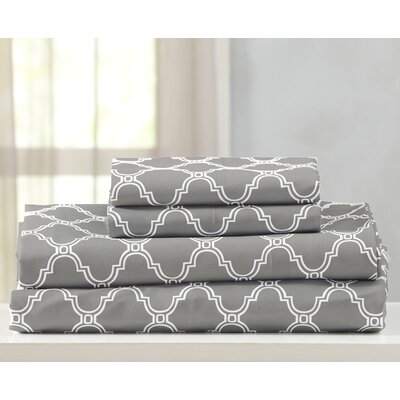 Kinman Geometric Printed Double Brushed Microfiber Sheet Set Size: King, Color: Dark Gray