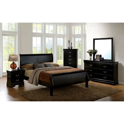 Poulsen Sleigh Bed Size: Full, Color: Black