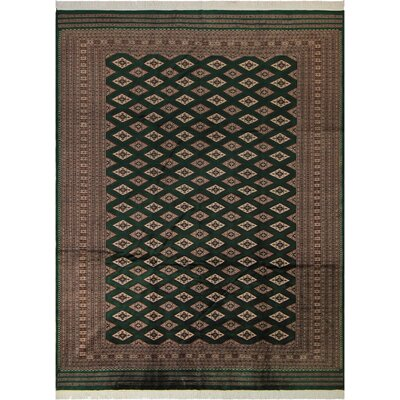 One-of-a-Kind Tanaquil Hand-Knotted Wool Green/Tan Area Rug