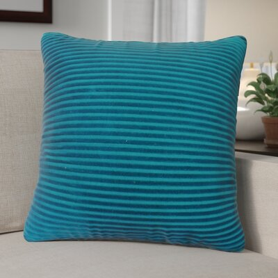 Kentish Strip Square Cotton Throw Pillow Color: Green