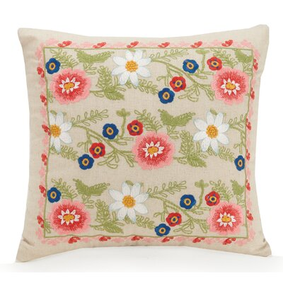 Coral Floral Cotton Throw Pillow