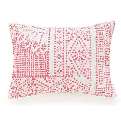 Coral Floral Dotty Cotton Lumbar Pillow