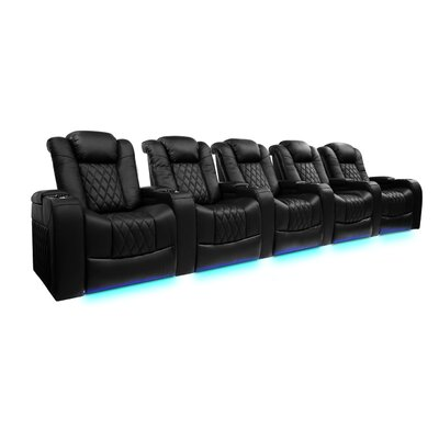 Valencia Tuscany Black Top Grain Leather Power Reclining Home Theatre Seating Row of Five with LED Lights - 5 - Seats 5560193ECA704EDE8B0153D1E508DC2F