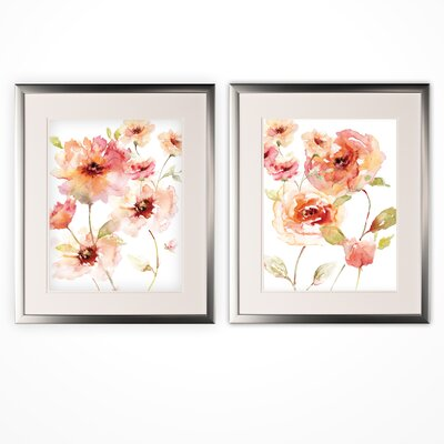 'Translucent Reds' 2 Piece Framed Acrylic Painting Print Set 1EBC118D33224408B78450D280D888B9