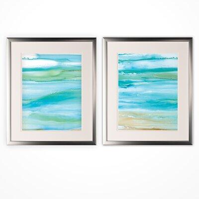 'Coastal Abstract' 2 Piece Framed Acrylic Painting Print Set FE9E9D0AFBAE4B33A35F08CD9F17C44D
