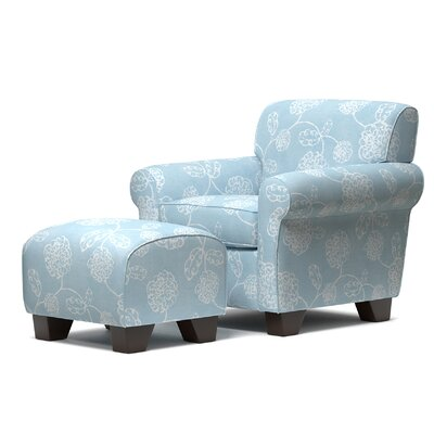 Hummel Armchair and Ottoman Upholstery: Blue Floral