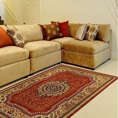 Deston Medallion Red Area Rug Rug Size: Rectangle 410 x 610