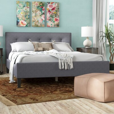 Parsons Upholstered Platform Bed Size: King, Color: Gray