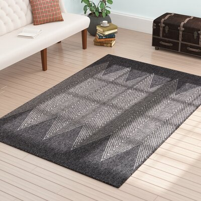 Milivoje Charcoal Chevron Area Rug Rug Size: Rectangle 910 x 132