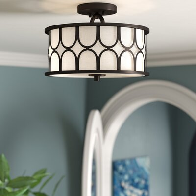 Roepke 2-Light LED Semi Flush Mount Fixture Finish: Oil Rubbed Bronze