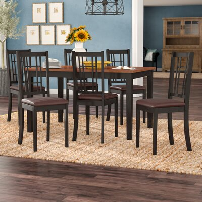 Pillar Modern 7 Piece Dining Set Finish: Black and Cherry, Chair Upholstery: Faux Leather