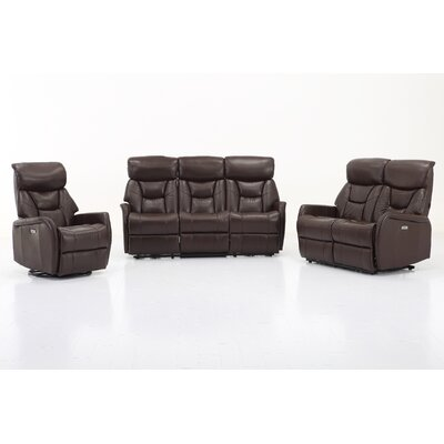 Grip 3 Piece Living Room Set Upholstery: Angus Brown