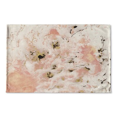 Wakulla Marbled Flat Weave Bath Rug Color: Pink